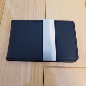Troika Black Leather Card and money clip